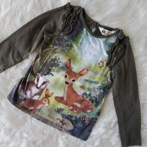 H&M 2-4 fall autumn woodland animals forest top
